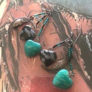 Vintage Sterling Half Moon/Stone/Bead Earrings ❤️